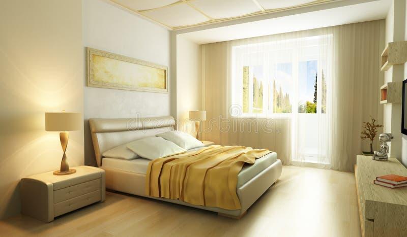 Dormitorio moderno 3d interior del estilo ilustración del vector
