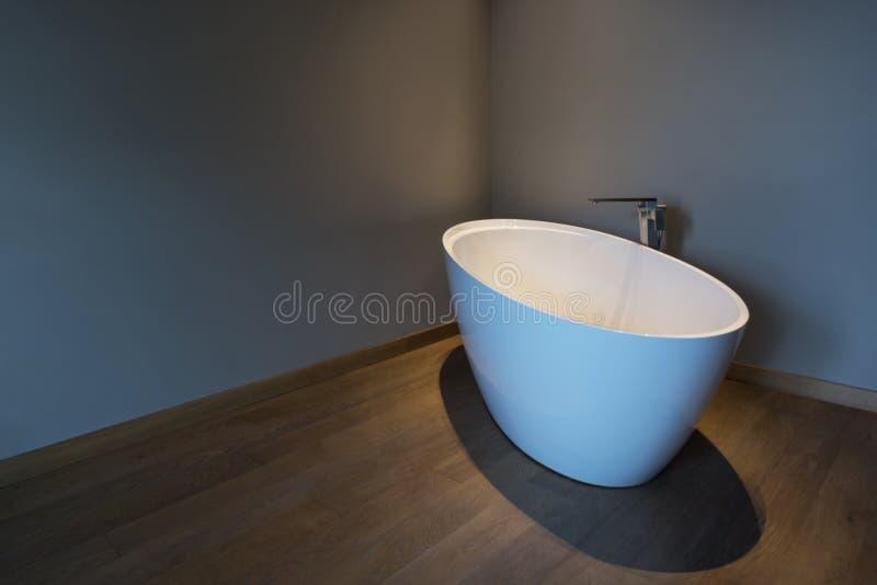 Dormitorio moderno con la bañera, apartamento de lujo imagen de archivo