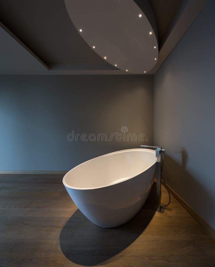 Dormitorio moderno con la bañera, apartamento de lujo imagen de archivo libre de regalías