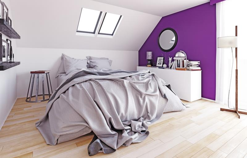 Dormitorio moderno del ático ilustración del vector
