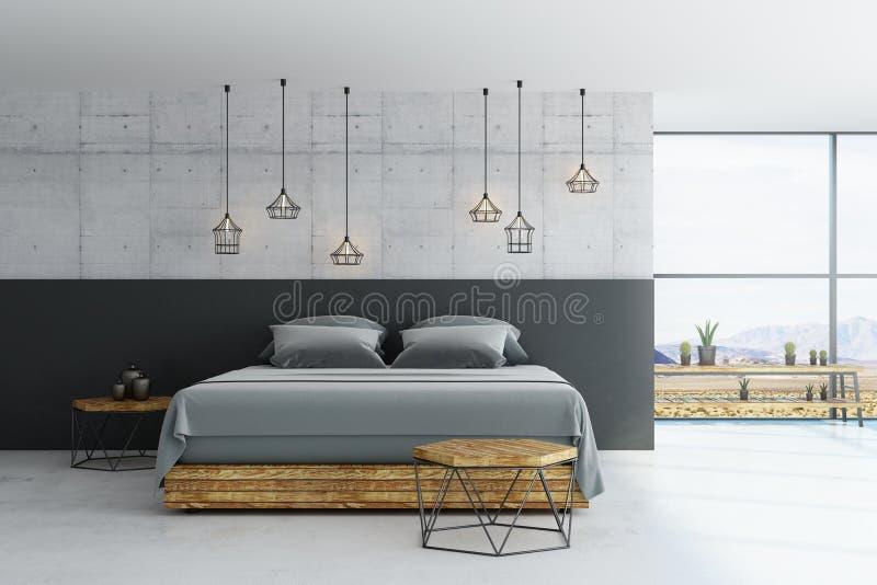 Dormitorio moderno del desván ilustración del vector