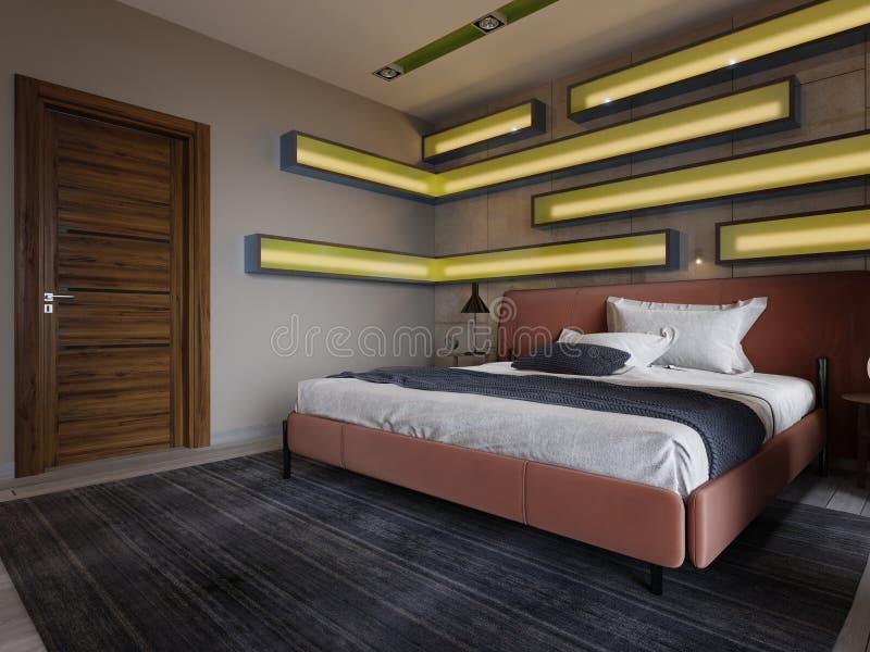 Dormitorio multicolor moderno con los estantes en la pared con la iluminación verde debajo del vidrio esmerilado, cama de cuero e stock de ilustración