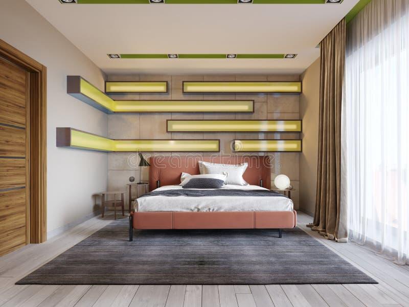 Dormitorio multicolor moderno con los estantes en la pared con la iluminación verde debajo del vidrio esmerilado, cama de cuero e ilustración del vector