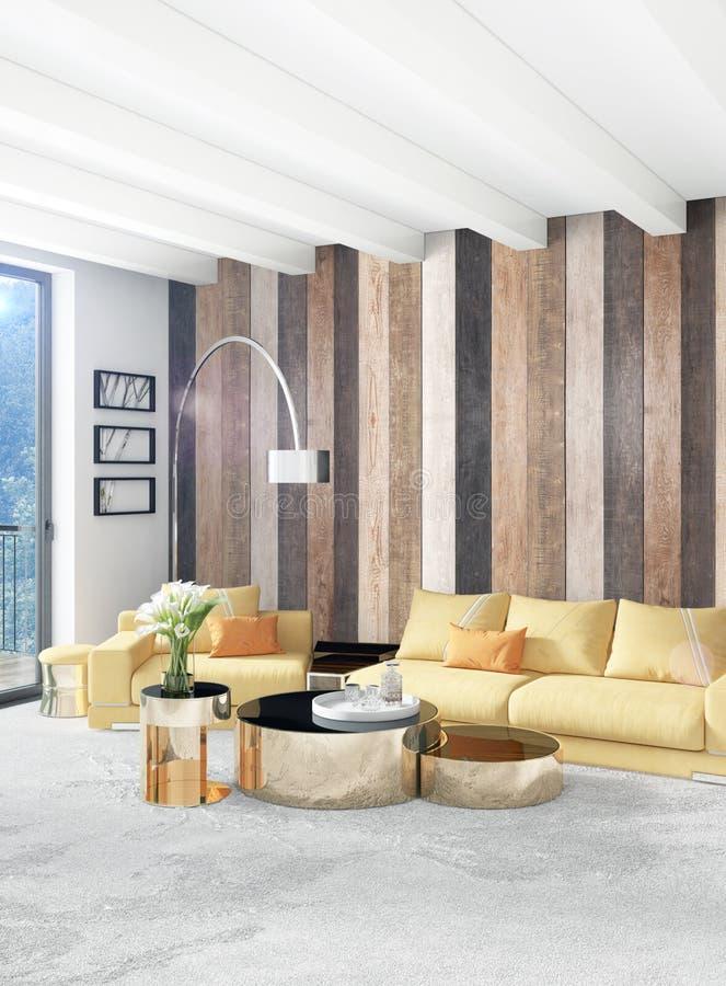 Dormitorio o sala de estar amarillo en diseño interior del estilo moderno con la pared de la exudación y muebles elegantes repres ilustración del vector