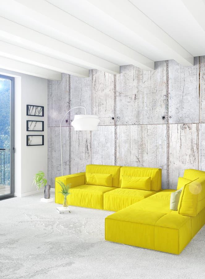 Dormitorio o sala de estar amarillo en diseño interior del estilo moderno con la pared de la exudación y muebles elegantes repres libre illustration