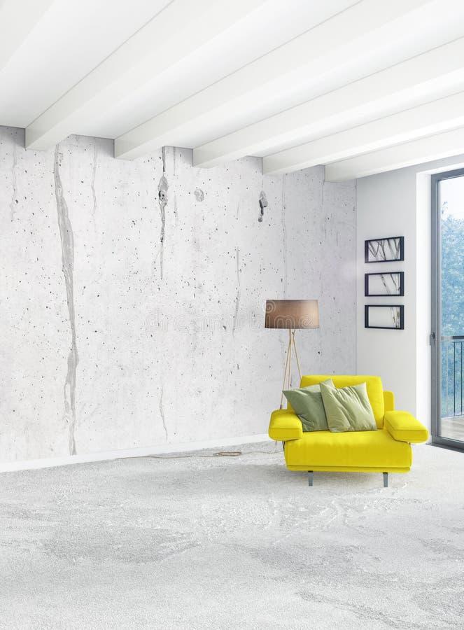 Dormitorio o sala de estar amarillo en diseño interior del estilo moderno con la pared de la exudación y muebles elegantes repres stock de ilustración