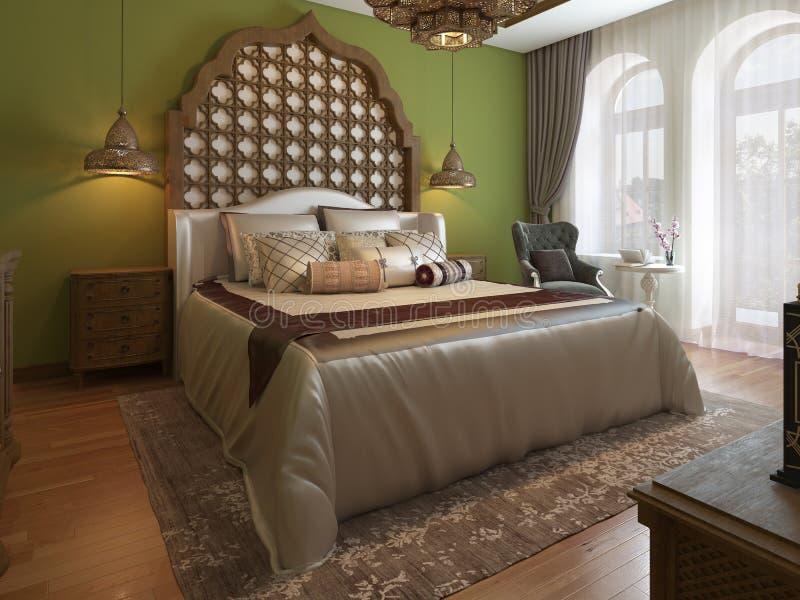 Dormitorio oriental en estilo árabe, con un cabecero de madera y paredes verdes Unidad de la TV, tocador, butaca con la mesa de c stock de ilustración