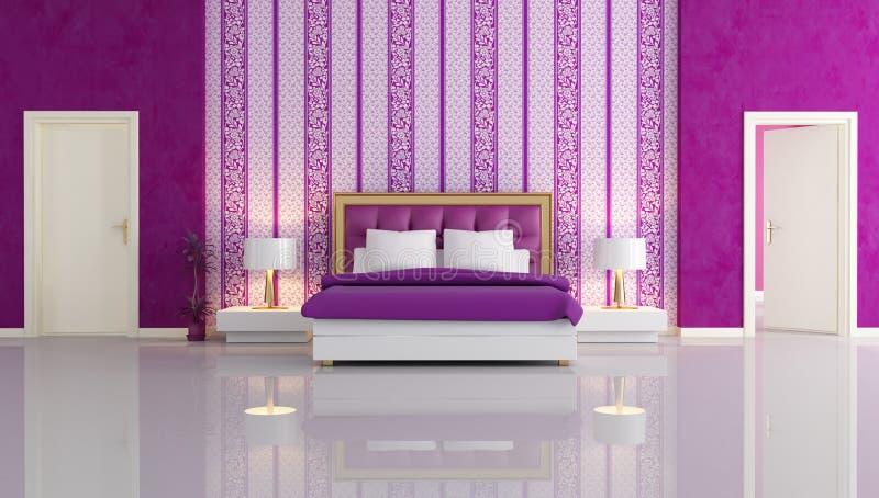 Dormitorio púrpura de lujo ilustración del vector