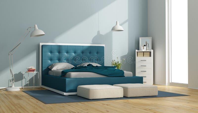 Dormitorio principal azul y blanco imagenes de archivo