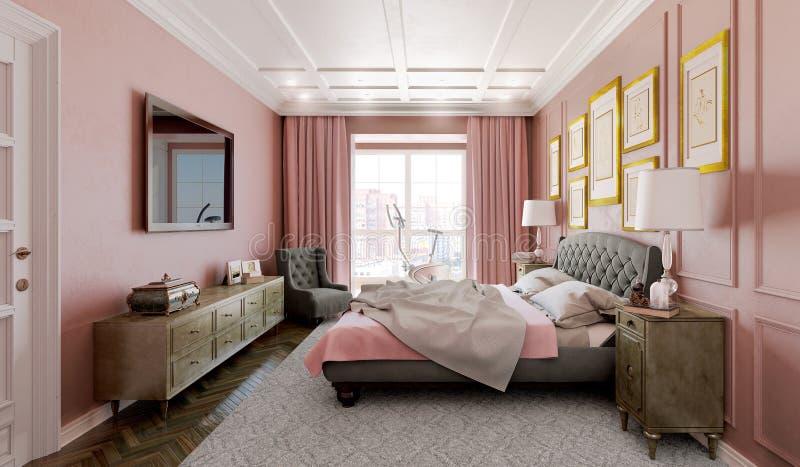 Dormitorio principal con diseño moderno con rosa ilustración del vector