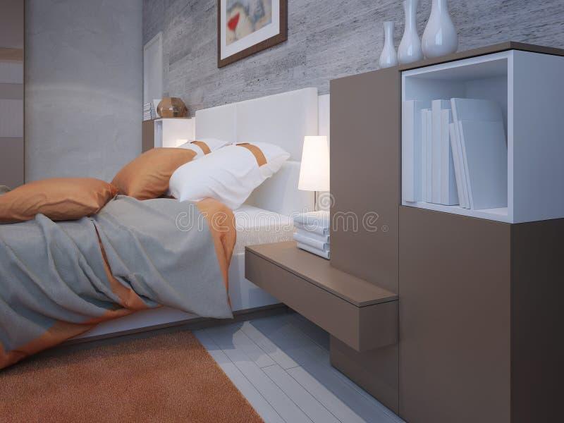 Dormitorio principal en anaranjado y gris ilustración del vector