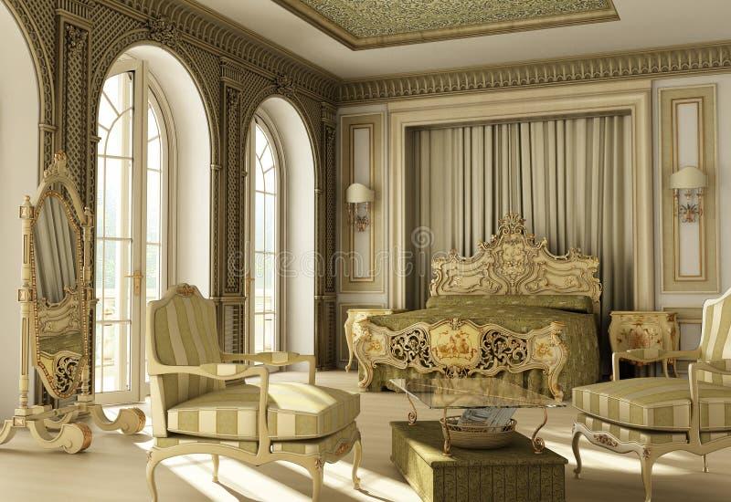 Dormitorio rococó de lujo. ilustración del vector