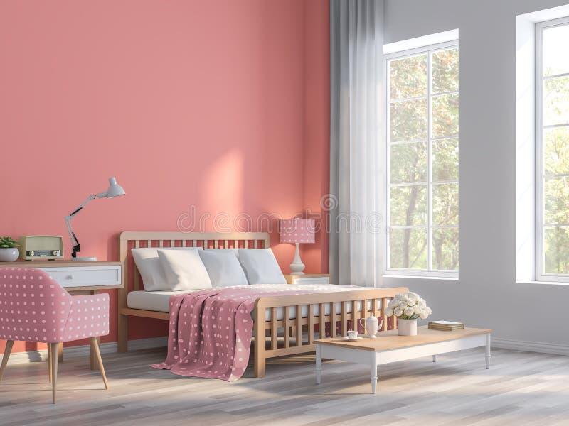 Dormitorio rosado coralino con la opinión 3d de la naturaleza rendir ilustración del vector