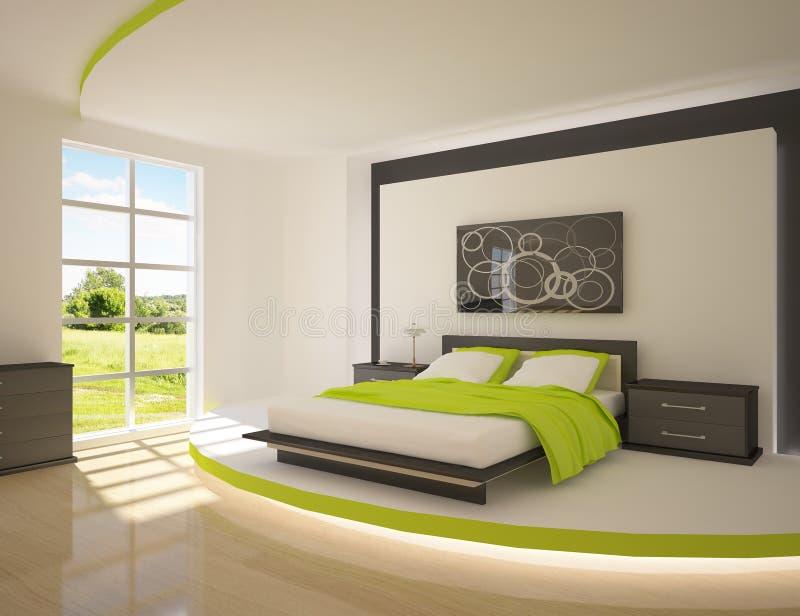 Dormitorio verde stock de ilustración