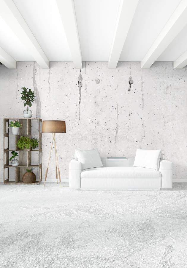 Dormitorio vertical diseño interior del estilo mínimo o del desván representación 3d Idea del concepto stock de ilustración