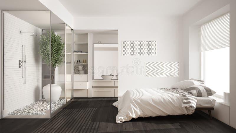 download dormitorio y cuarto de bao minimalistas con la ducha y el vestidor foto de - Dormitorio Con Vestidor