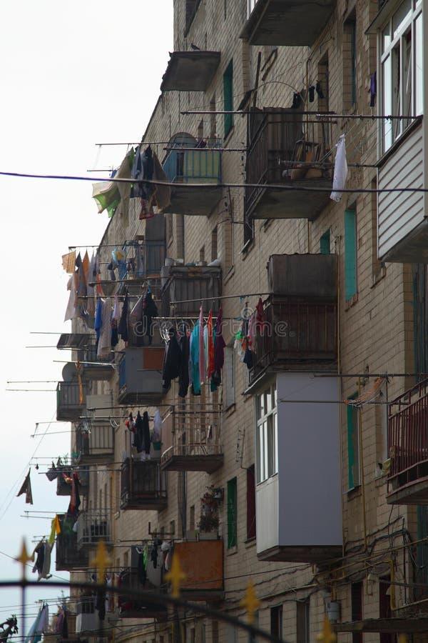 dormitorium Suszarnicza pralnia na balkonach zdjęcie royalty free