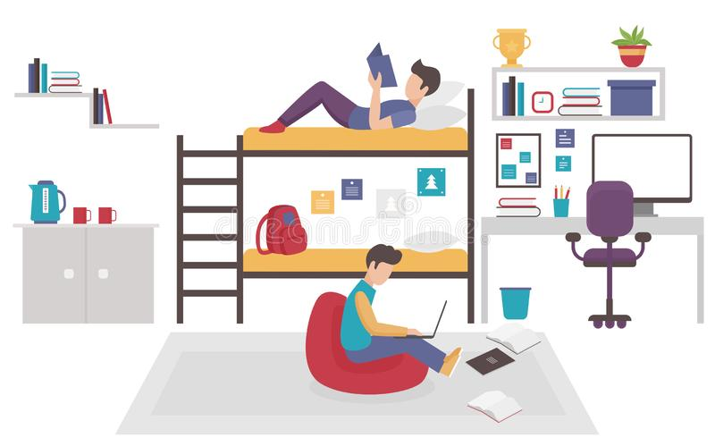 Dormitory room with two teen men brothers sharing bedroom. Friends males study home together flat vector illustration. royalty free illustration