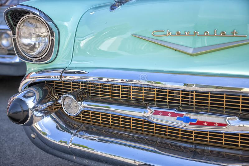 Dornbirn, Austria, 12 June 2012: Front detail of a Chevrolet vintage car stock photos