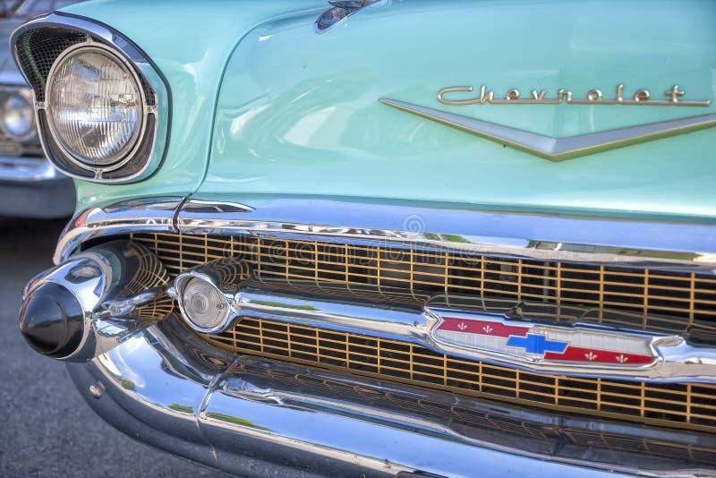 Dornbirn, Oostenrijk, 12 Juni 2012: Voordetail van Chevrolet vin stock foto's