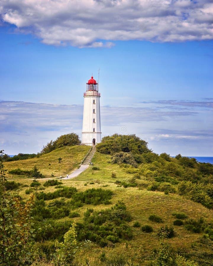 Dornbusch Lighthouse on Hiddensee island, Germany. Baltic, landscape, sea, tourism, beacon, nature, beautiful, beauty, broom, genista, holiday, summer stock photo