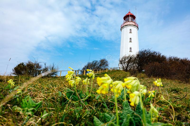 Dornbusch lighthouse on Hiddensee Island, Germany. Spring time royalty free stock images