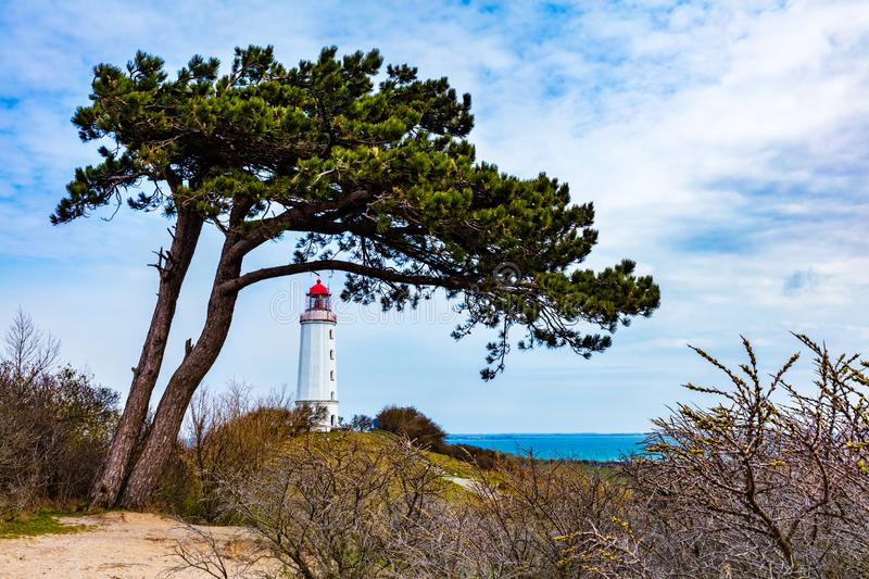 Dornbusch lighthouse on Hiddensee Island, Germany. Spring time. Baltic sea in the background stock photography