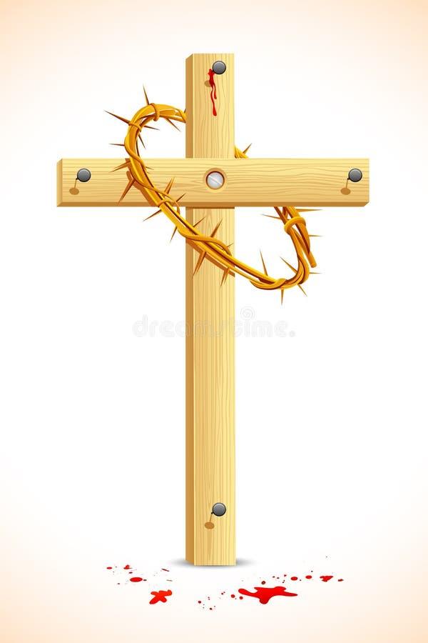 Dornenkrone auf hölzernem Kreuz lizenzfreie abbildung
