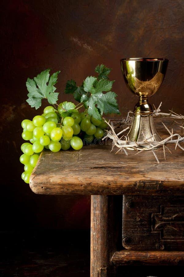 Dornenkrone und Wein lizenzfreies stockbild