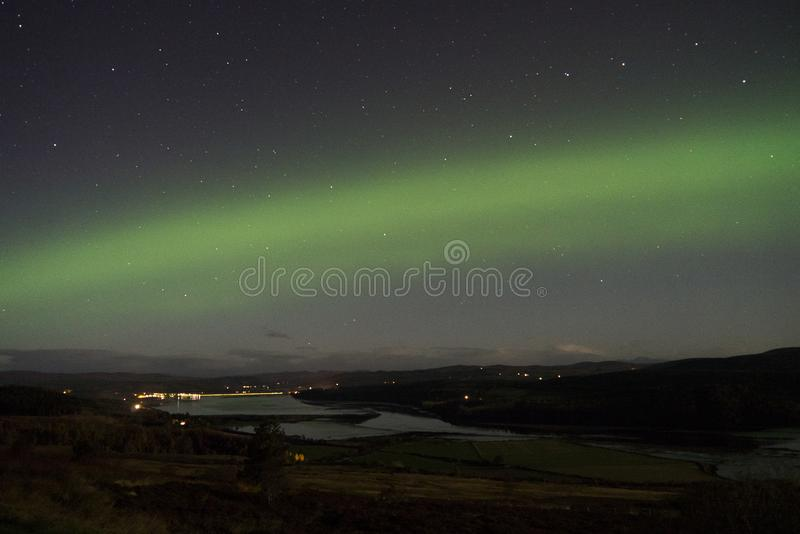 Amazing display of the Aurora Borealis in northern Scotland royalty free stock images