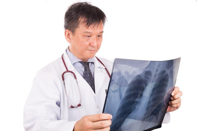 Dorośleć Azjatycki lekarz medycyny egzamininuje płuco Radiologicznego negatywnego film obrazy royalty free