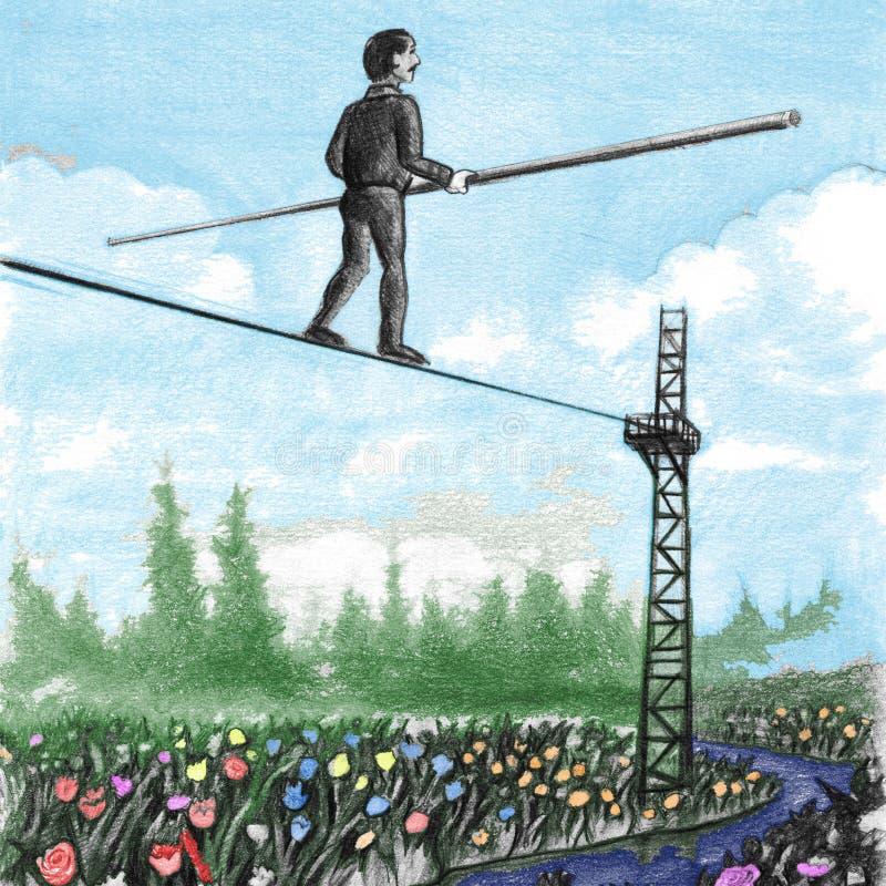 Dorośleć mężczyzna Chodzi balansowanie na linie above kwiaty zdjęcie royalty free