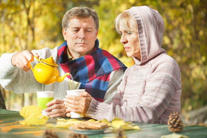 Dorośleć mężczyzna dolewania herbaty od teapot jego żona zdjęcia stock