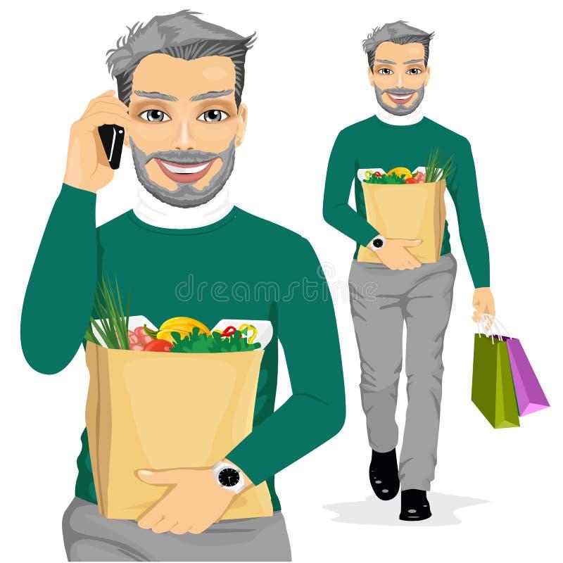 Dorośleć mężczyzna przewożenia sklepu spożywczego papierową torbę zdrowy jedzenie pełno royalty ilustracja