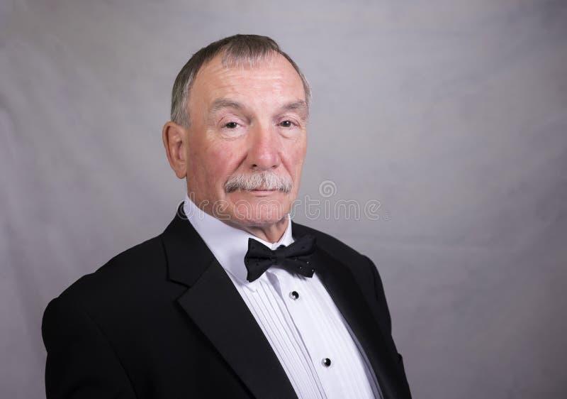Dorośleć mężczyzna w łęku krawacie i kostiumu obrazy royalty free