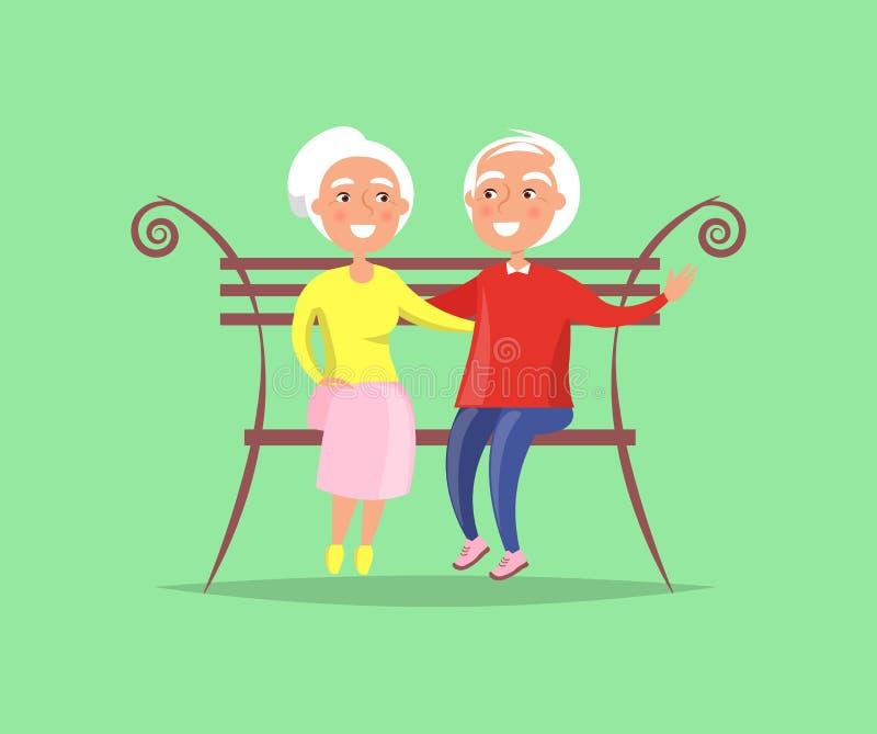 Dorośleć pary obsiadanie na ławki Wpólnie rodzinie royalty ilustracja