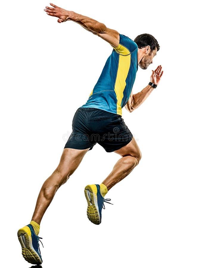 Doro?le? m??czyzny dzia?aj?cego biegacza jogging jogger odizolowywaj?cego bia?ego t?o fotografia royalty free