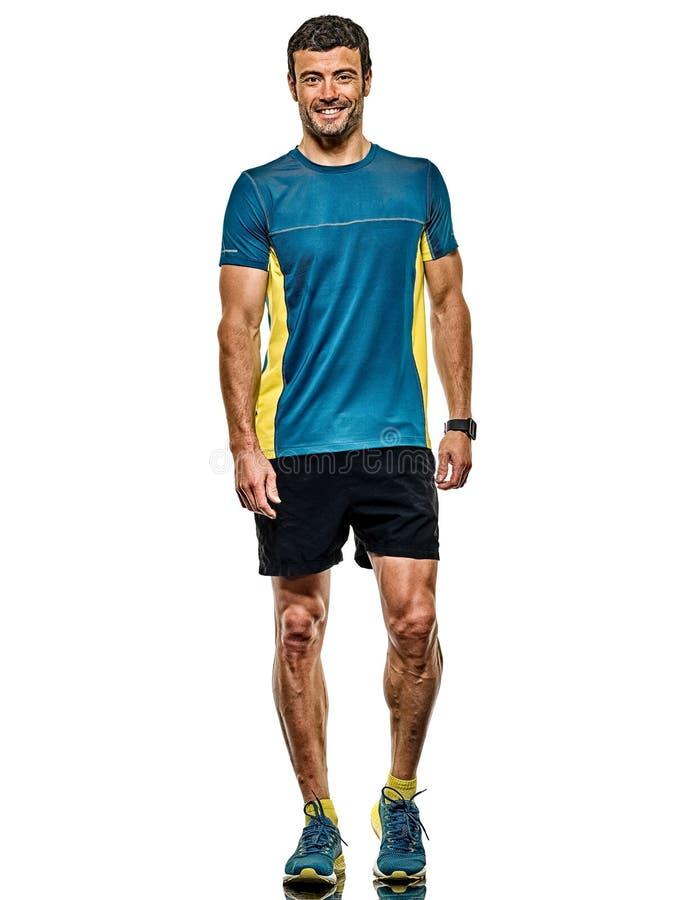 Doro?le? m??czyzny dzia?aj?cego biegacza jogging jogger odizolowywaj?cego bia?ego t?o zdjęcie royalty free