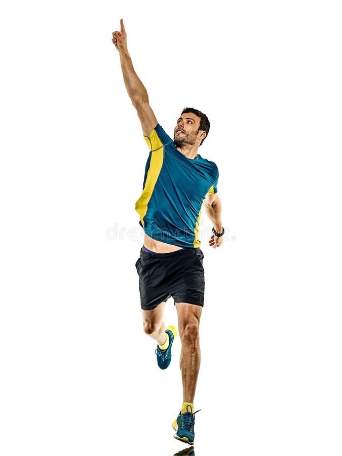 Doro?le? m??czyzny dzia?aj?cego biegacza jogging jogger odizolowywaj?cego bia?ego t?o obraz royalty free