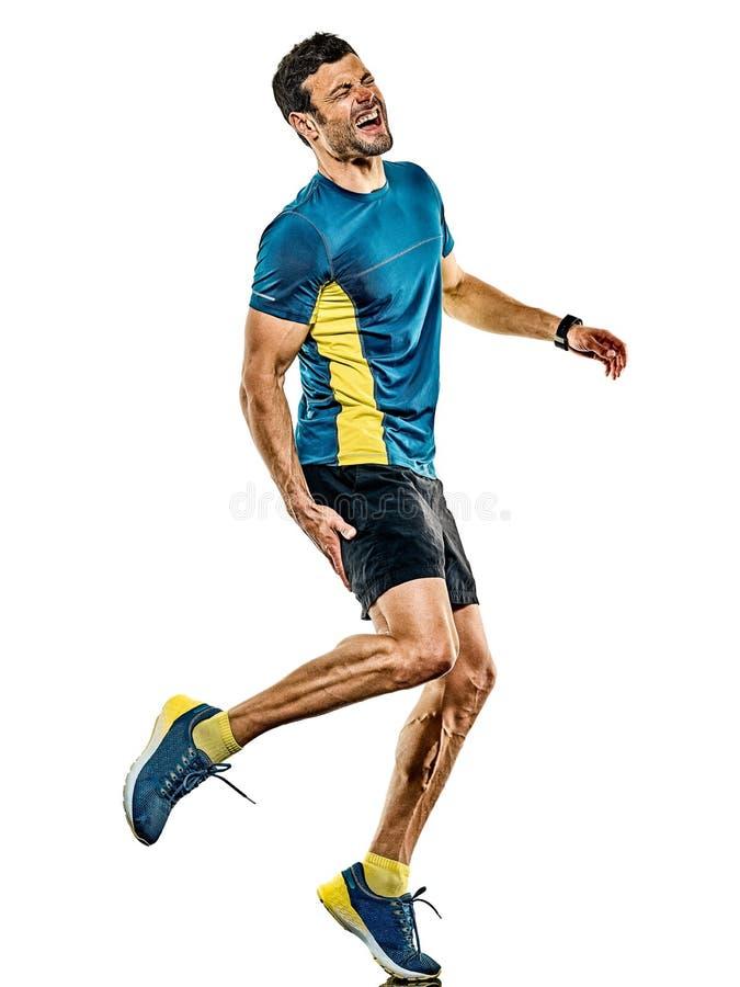 Doro?le? m??czyzny dzia?aj?cego biegacza jogging jogger odizolowywaj?cego bia?ego t?o obrazy royalty free