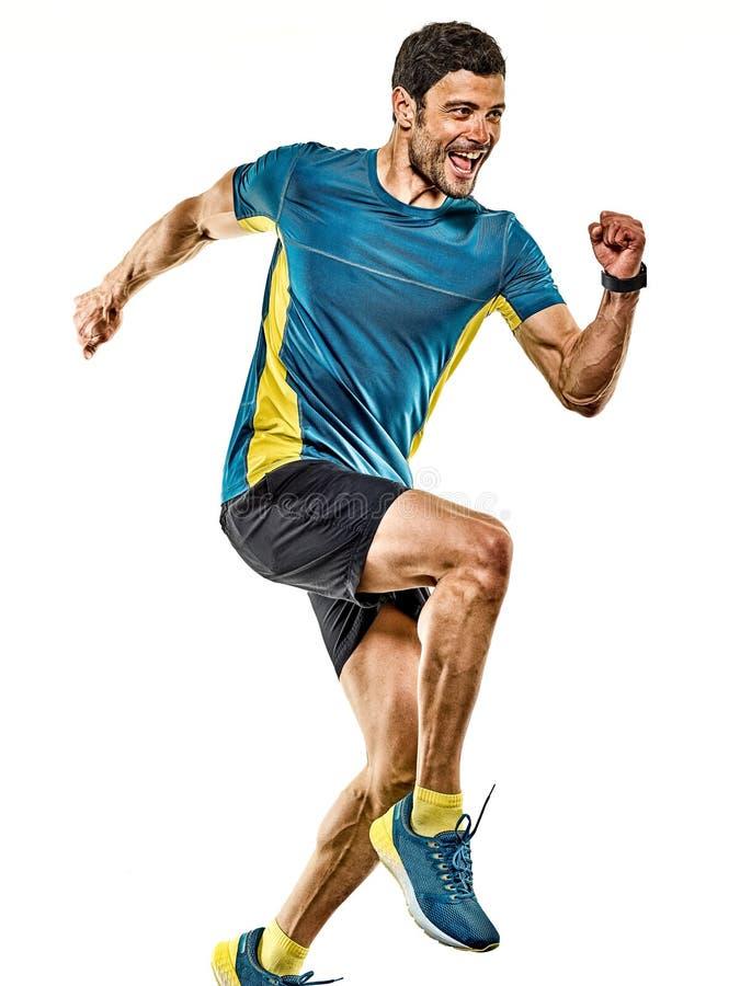 Doro?le? m??czyzny dzia?aj?cego biegacza jogging jogger odizolowywaj?cego bia?ego t?o obraz stock