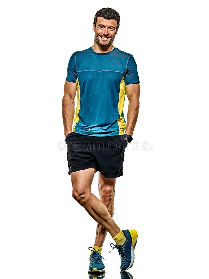 Doro?le? m??czyzny dzia?aj?cego biegacza jogging jogger odizolowywaj?cego bia?ego t?o zdjęcia stock