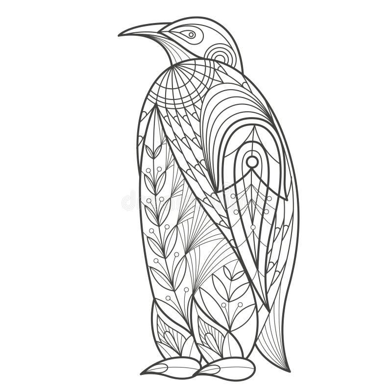 Dorosła kolorystyka Ptasi pingwin royalty ilustracja
