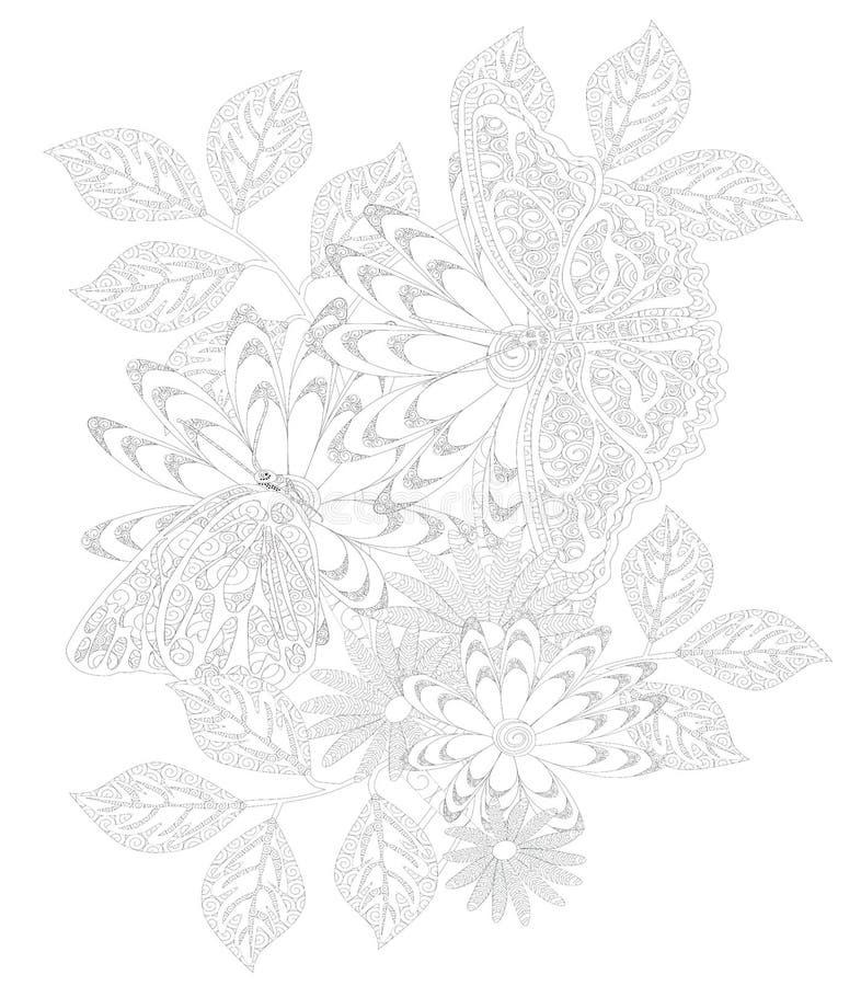 Dorosła kolorystyki ilustracja z motylami i kwiatami obraz stock