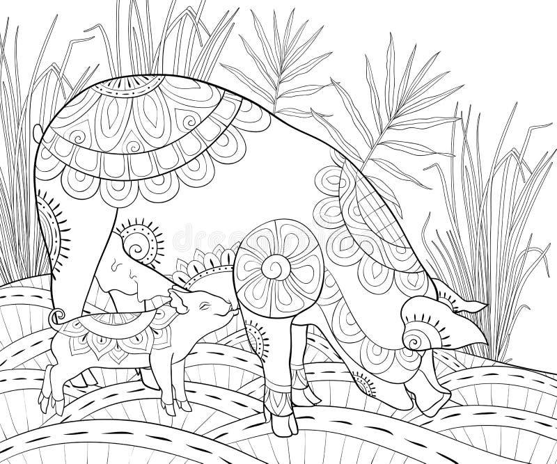 Dorosła kolorystyki książka, wzywa ślicznego świnia wizerunek dla relaksować Zen sztuki stylu ilustracja ilustracji