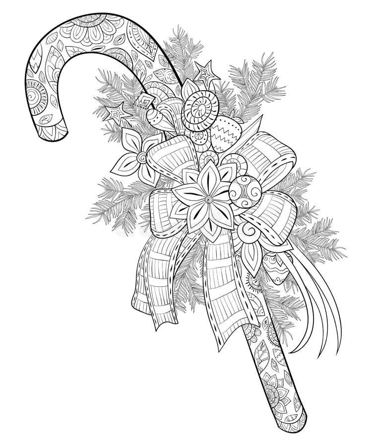Dorosła kolorystyki książka, wzywa ślicznego Bożenarodzeniowego cukierek z dekoracj zabawkami, łękiem i jedlinowego drzewa śniada royalty ilustracja