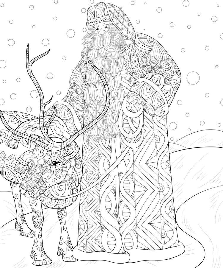 Dorosła kolorystyki książka, wzywa Święty Mikołaj z jelenią ilustracją dla relaksować ilustracja wektor