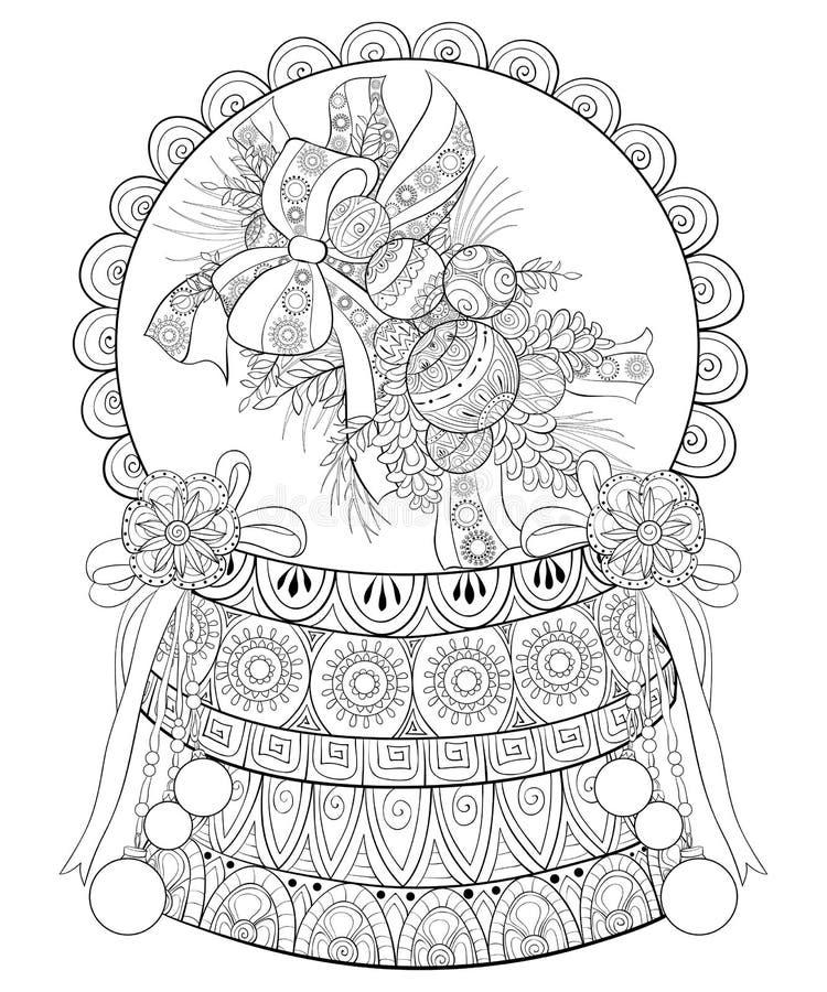 Dorosła kolorystyki książka, wzywa Bożenarodzeniowego puchar z dekoracja ornamentami dla relaksować Zentangle royalty ilustracja