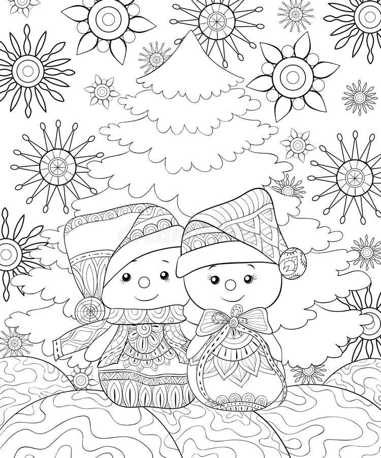 Dorosła kolorystyki książka, wzywa Bożenarodzeniowego tematu wizerunek z parą bałwany na tle ilustracja wektor