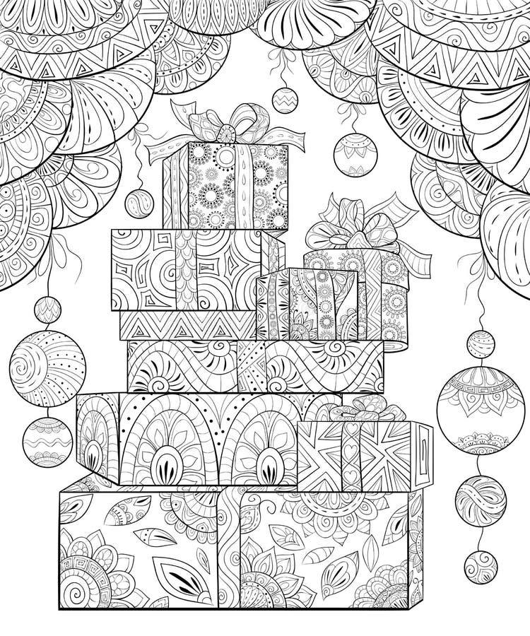 Dorosła kolorystyki książka, wzywa Bożenarodzeniowych prezenty z dekoracja ornamentami dla relaksować Zentangle ilustracja wektor
